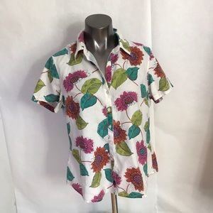 Tommy Bahama Relax Linen Top SzLg Tropical SS BU